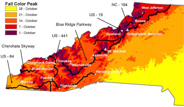 Fall Foliage Map 2015 WNC